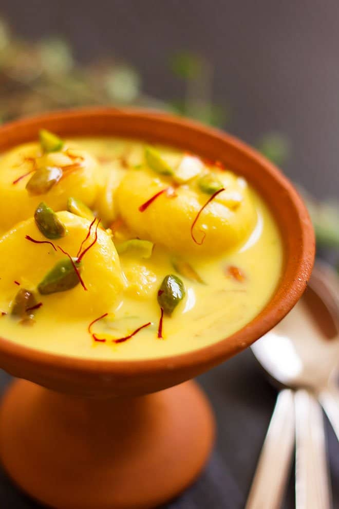 Closeup image of rasmalai dessert.
