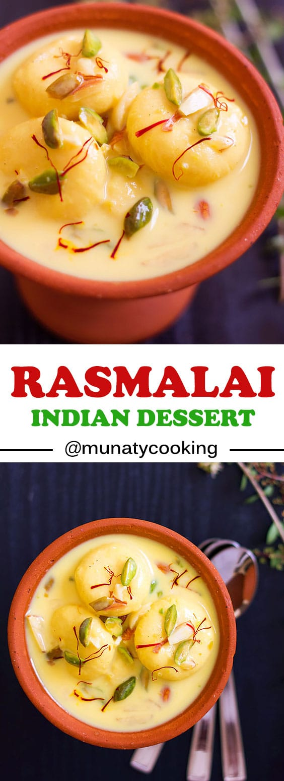 Rasmalai, Indian dessert made of spongy and soft cheese balls in a delicious silky milk sauce. #rasmalai #indiandessert