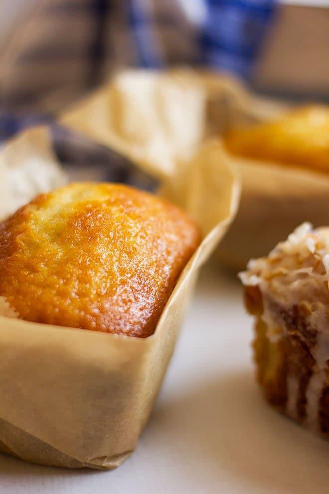 Golden loaf of coconut cake.