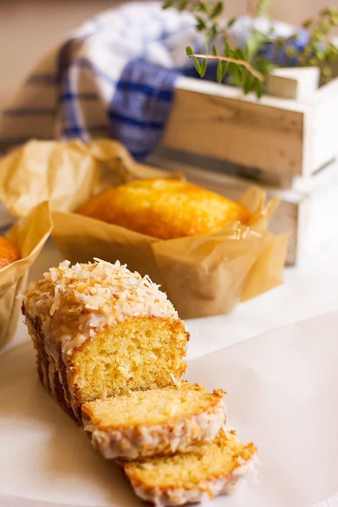 Side image of coconut cake slices.