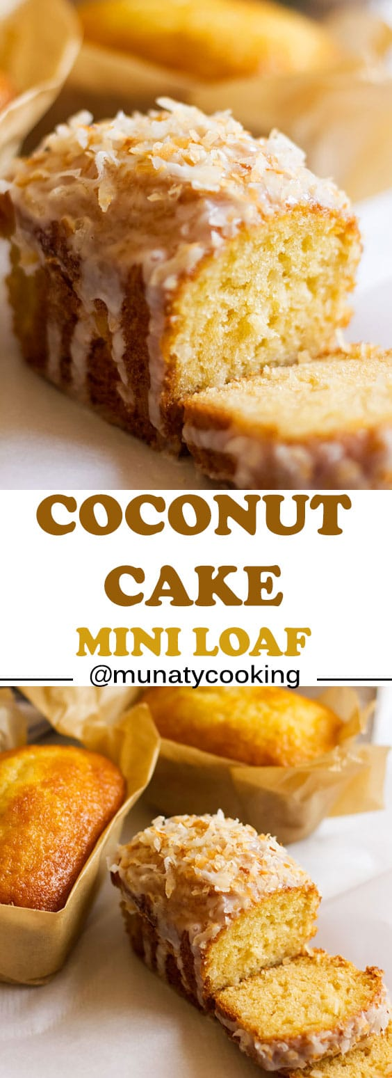 Easy coconut cake recipe. These mini loaves are moist and full of coconut flavor. Served with icing and topped with toasted shredded coconuts. #coconutcake #cake #coconutrecipe