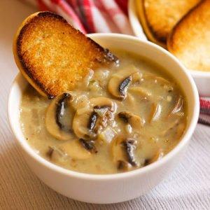 Feature image of cream of mushroom recipe.