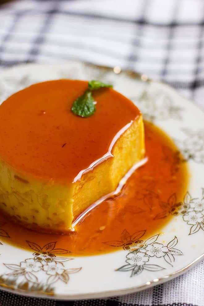 Creme caramel showing how creamy it is from the inside.