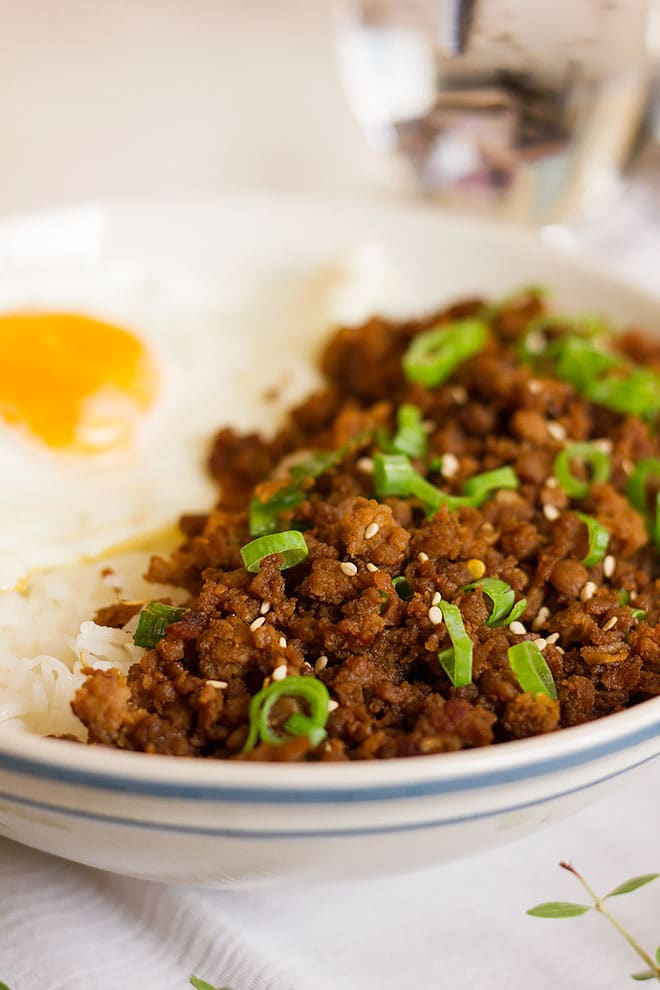 Sweet and salty korean beef bowl on rice.