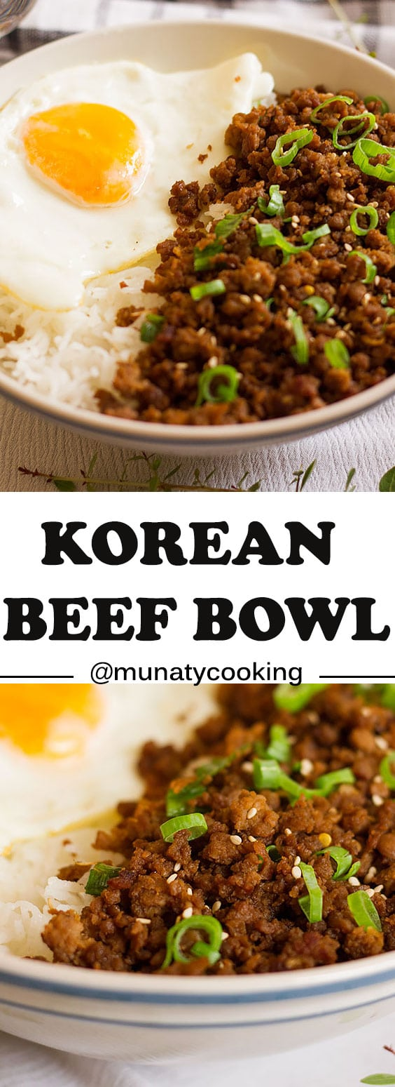 Korean beef bowl easy recipe. Learn how to make this Korean delicious delight. Made of simple ingredients but the result is just amazing. Served on a plain rice. #koreanrecipe #koreanbeef