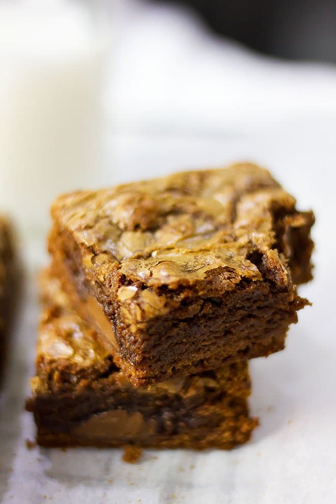 Close up image of Nutella brownies, showing crackly top.