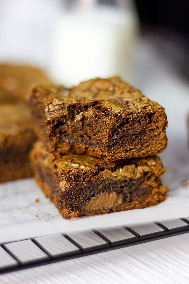 Fudgy and chewy Nutella brownies photo.