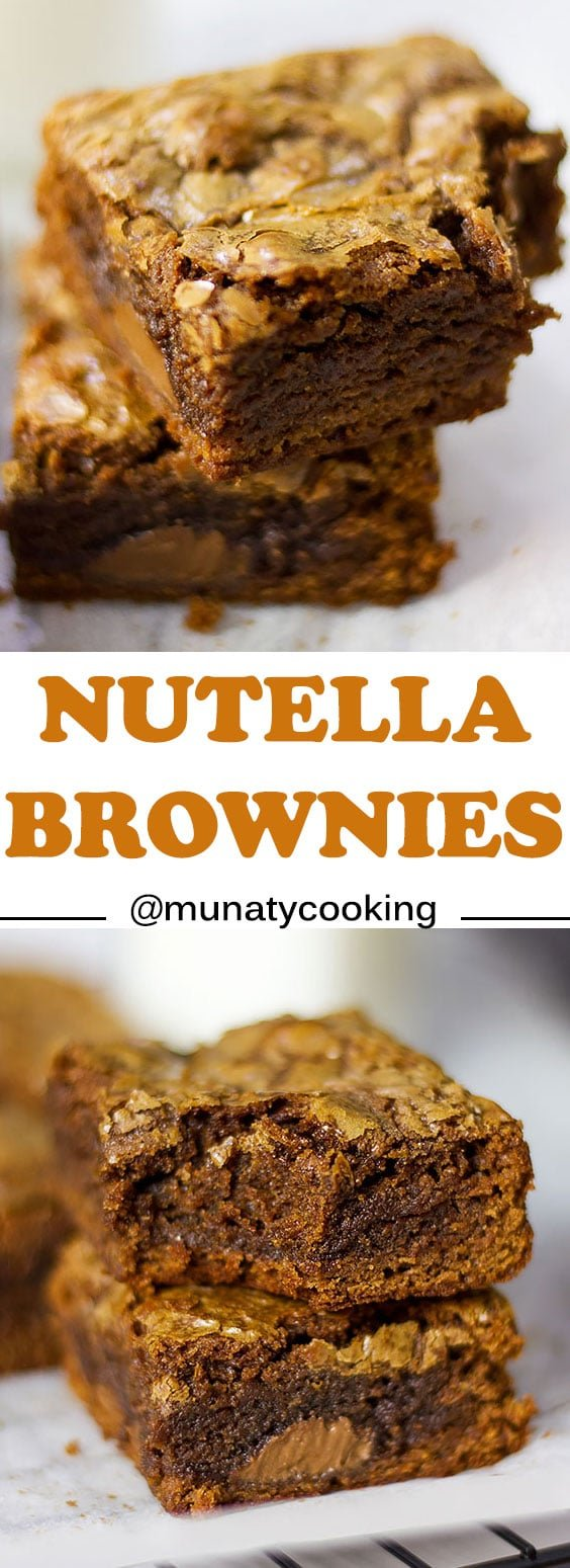 Nutella Brownies Recipe, this is a great recipe for brownies. If you love Nutella and brownies you will get addicted to this fudgy and chewy Nutella based Brownies. #nutella #nutellabrownies #brownies #browniesrecipe #chocoholic