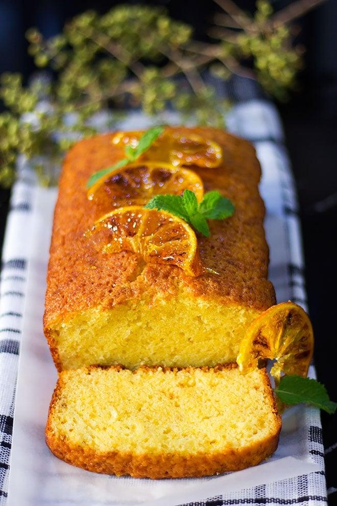 Orange cake freshly baked and sliced.