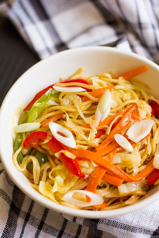Over head shot of vegetable chow mein. #chowmein