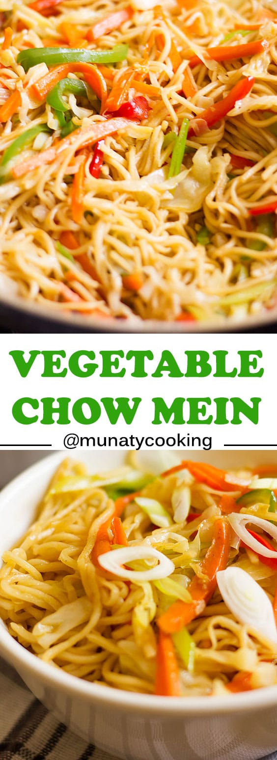 Easy and healthy vegetable chow mein. Full of vegetables and flavor. #chowmein