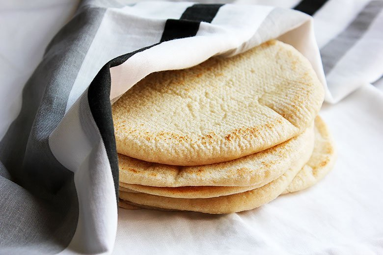Close up image of pita bread stack. #pitabread