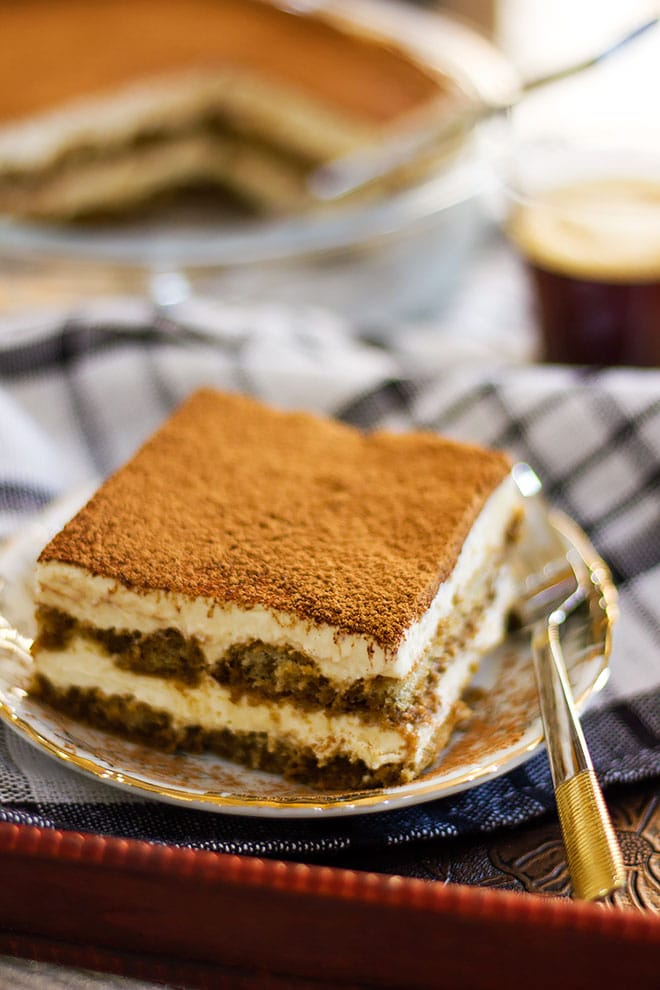 Tiramisu served on a small plate.