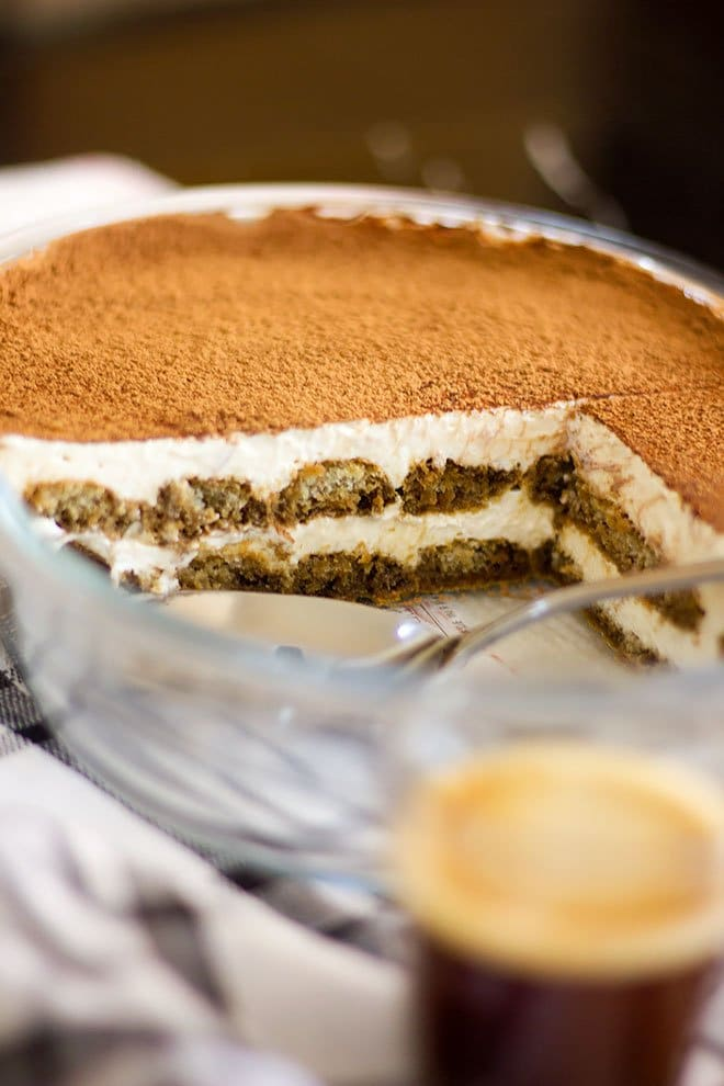 Showing tiramisu pan with dusted cocoa powder.