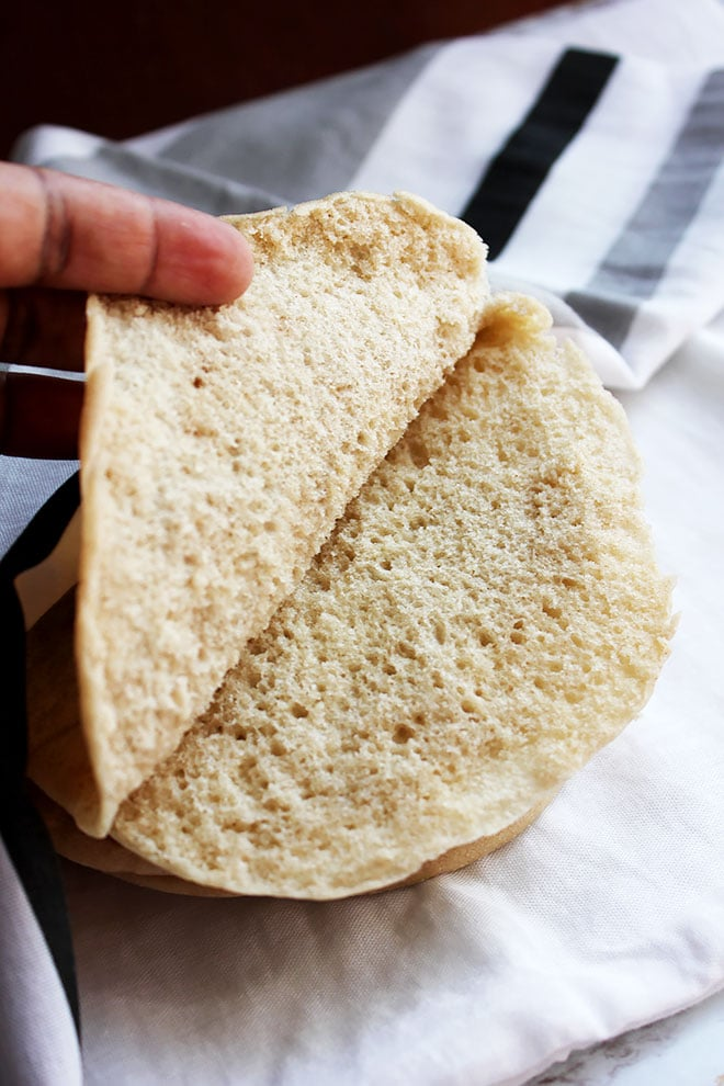 Showing pita bread from the inside, ready to be filled. #pitabread