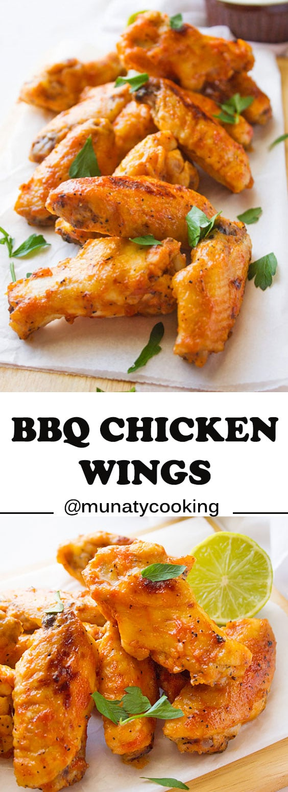 BBQ Chicken Wings. Make this finger food for your family and guests and enjoy the football game. Tender from the inside with homemade quick BBQ sauce. #bbq #chickenwings #chickenrecipes.