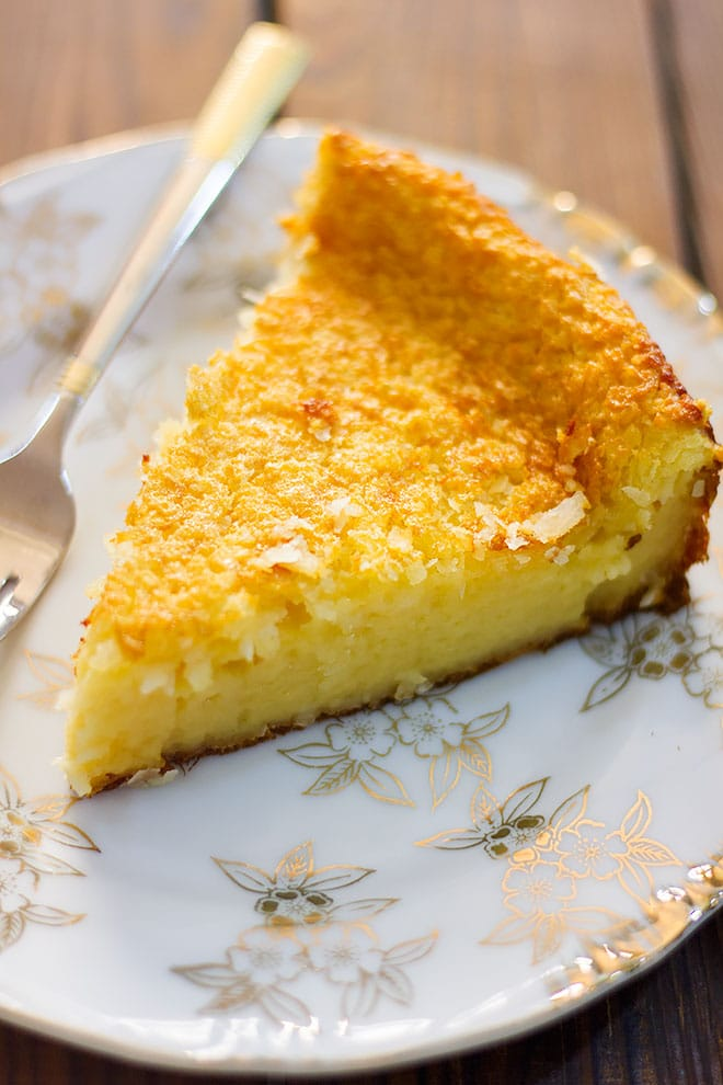 Creamy coconut pie served on a plate.