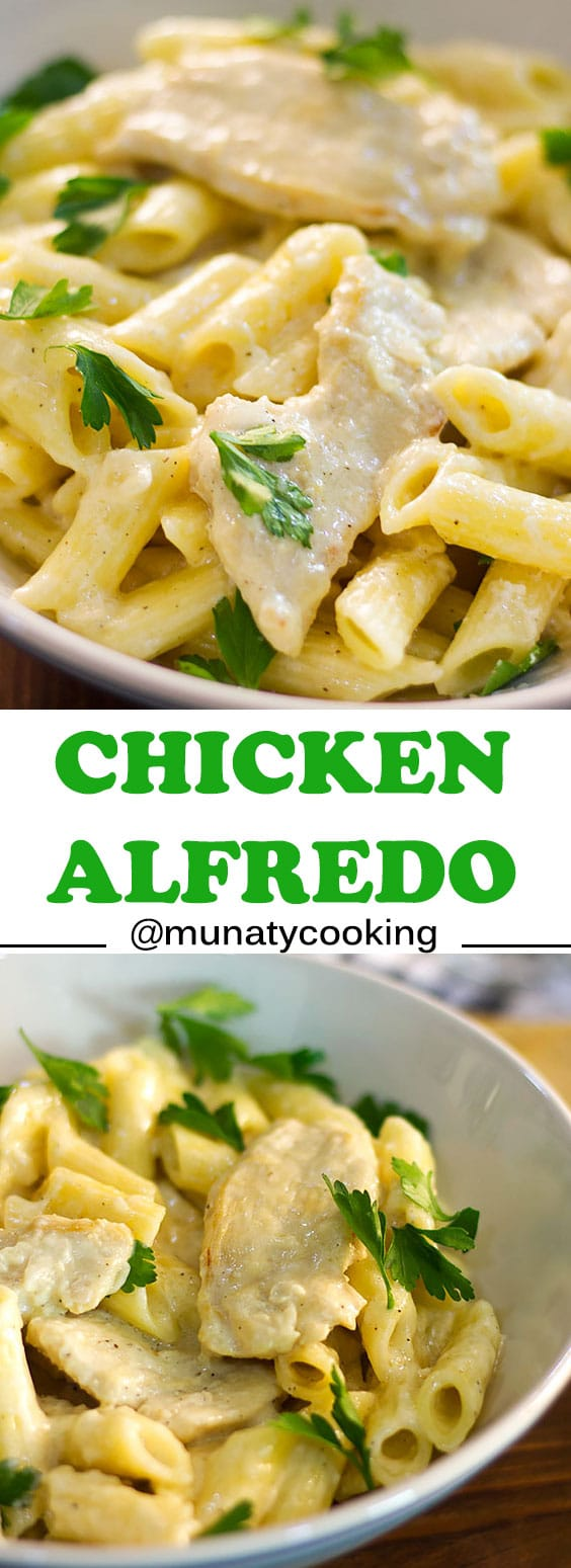 Creamy Chicken Alfredo a quick dinner that's ready in less than 30 minutes! Tender chicken breast cooked in creamy parmesan flavored alfredo sauce.  #alfredosauce #chickenalfredo #chickenrecipes