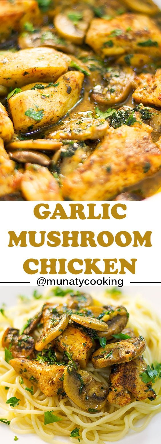 Garlic Mushroom Chicken Breast, a delicious and tender chicken breast in a garlic mushroom sauce! A quick weeknight meal that' prepared in less than 30 minutes.  Serve it over spaghetti, mashed potato, or short grain rice. #chickenrecipes #chickenandmushroom #chickenbreast #weeknightmeal #quickdinner