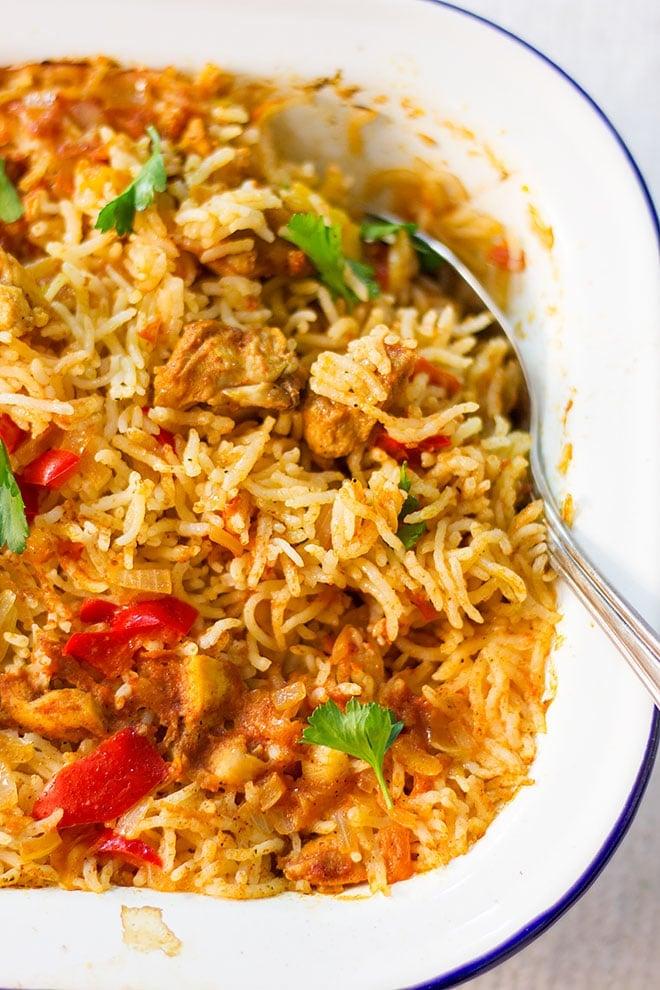 Tender chicken over fluffy rice.