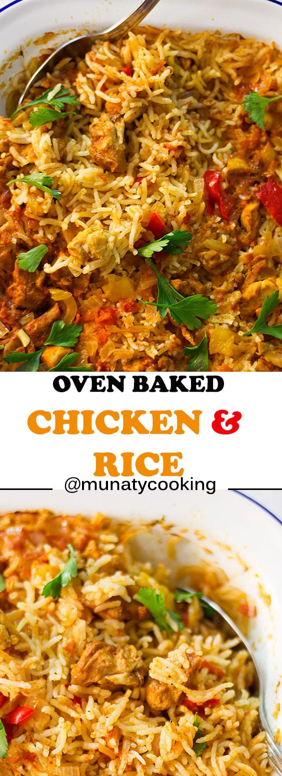 OVEN BAKED CHICKEN AND RICE. An easy casserole recipe for fork-tender chicken cooked with outrageously delicious rice! Made entirely in the oven. This recipe will save you time and impress many. #chickenandrice #chickenrecipes #bakedchicken #dinner recipes.