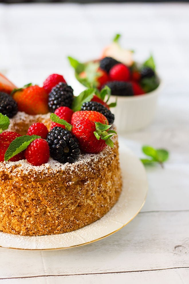 Side image of angel food cake.
