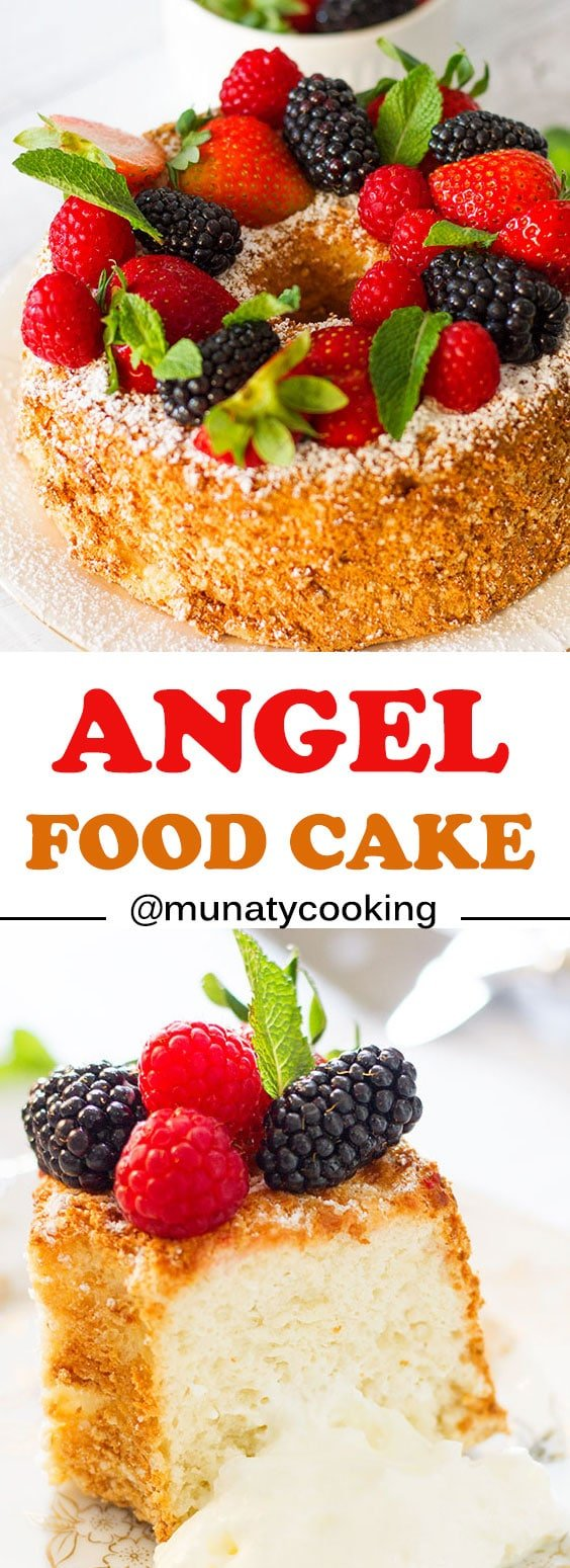 Angel food cake, a fail proof recipe. A light fluffy cake without butter, oil, or milk. This cake is amazing with cream or used in making shortcake. #angelfoodcake #cake
