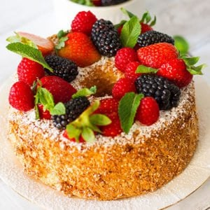Small image of homemade angel food cake.
