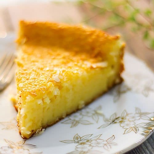 Feature image of impossible coconut pie recipe.