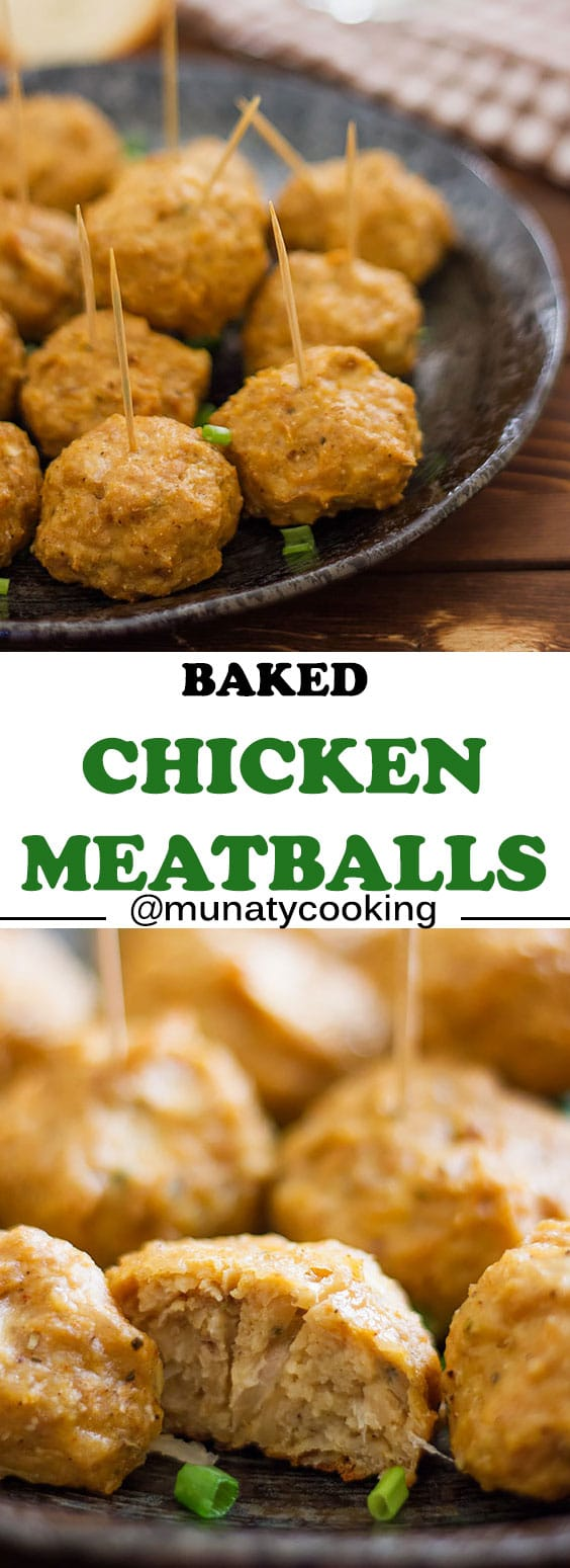 The best Baked Chicken Meatballs recipe! Golden and are tender from the inside, these chicken meatballs are freezer friendly, and you will love how easy it comes together. Follow the video tutorial and the tips in the post to make an amazing dinner for your family in a very short time! #chickenmeatballs #meatballs #dinner #quickdinner #dinnerrecipes #baking