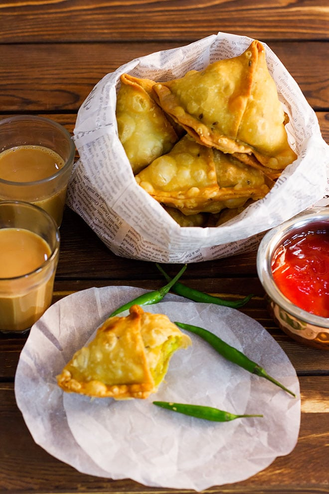 Vegan samosa with Indian tea.