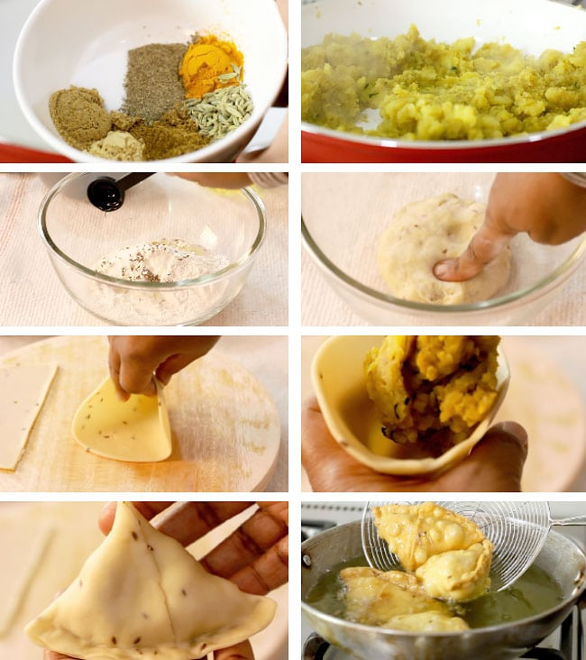 Images showing how easy to make samosa.