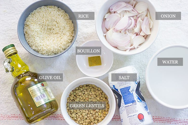 An image showing Mujadara ingredients.