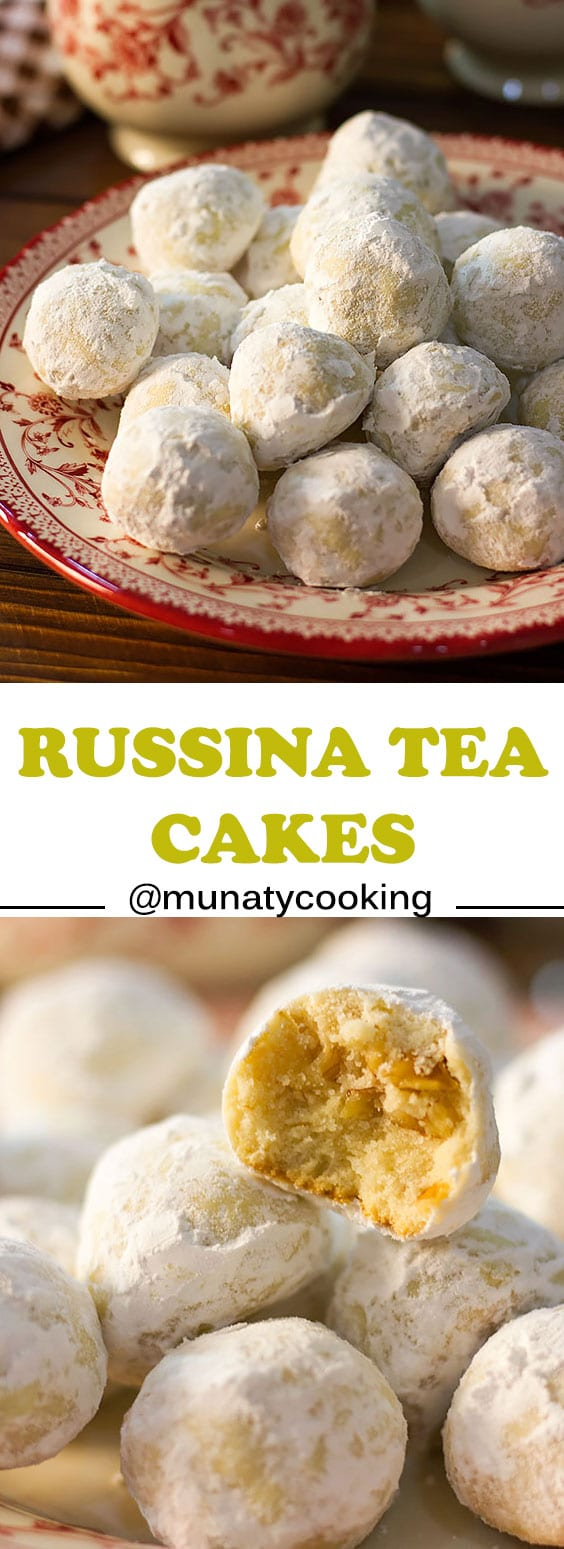 Russian Tea Cakes are delicate, buttery, and melt in your mouth cookies. Tender crumbs with crunchy toasted walnuts to give an amazing texture. These Russian tea cake cookies are coated in icing twice, and you can serve it with tea or milk! #weddingcookies #cookies #pecansandies #snowballs #russianteacakes #butterballs #teacakes #cookierecipes