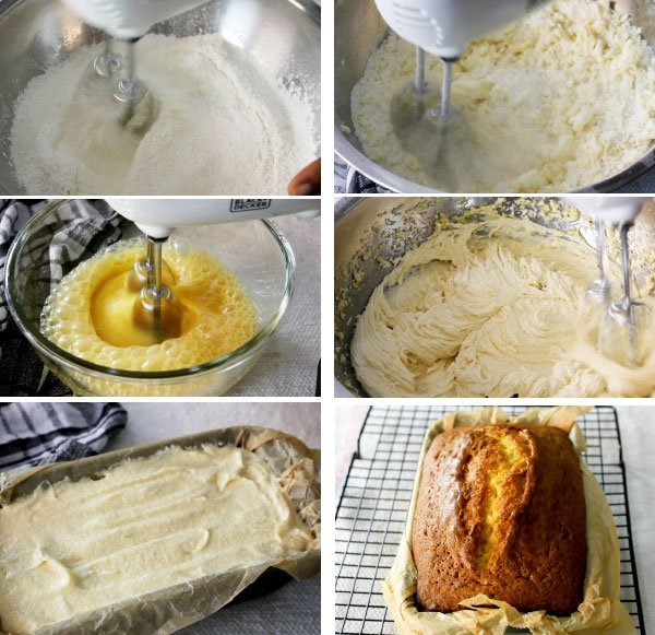 Step by step image showing how to make pound cake.