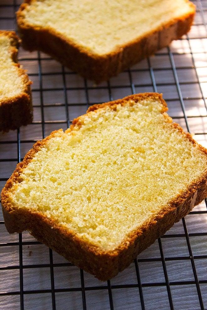 Pound cake showing tender crumbs.