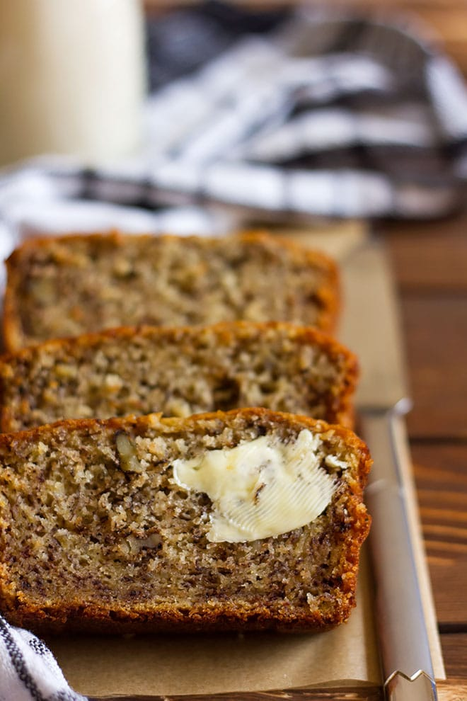 Freshly baked banana bread showing tender crumbs.