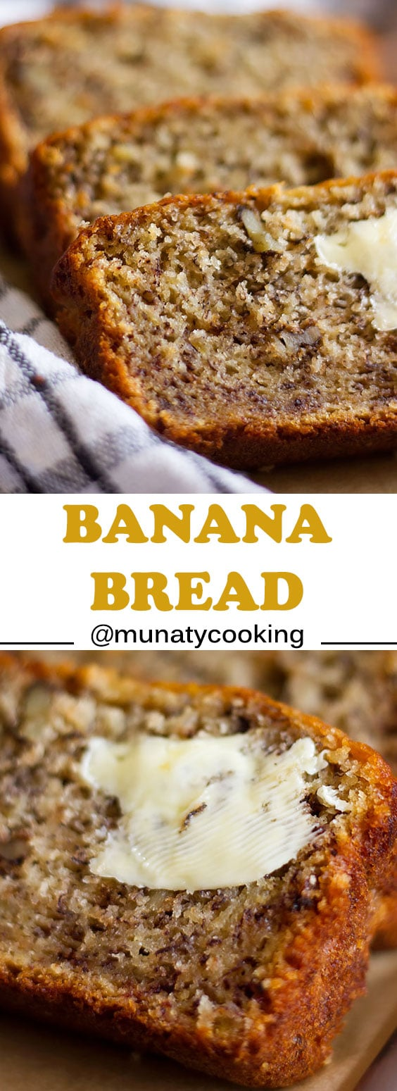Moist and low in calories banana bread. With simple ingredients you will make and amazing treat. Read the post for more tips on making banana muffins from this recipe and don't forget to watch the video. #bananabread #breadloaf #bananacake