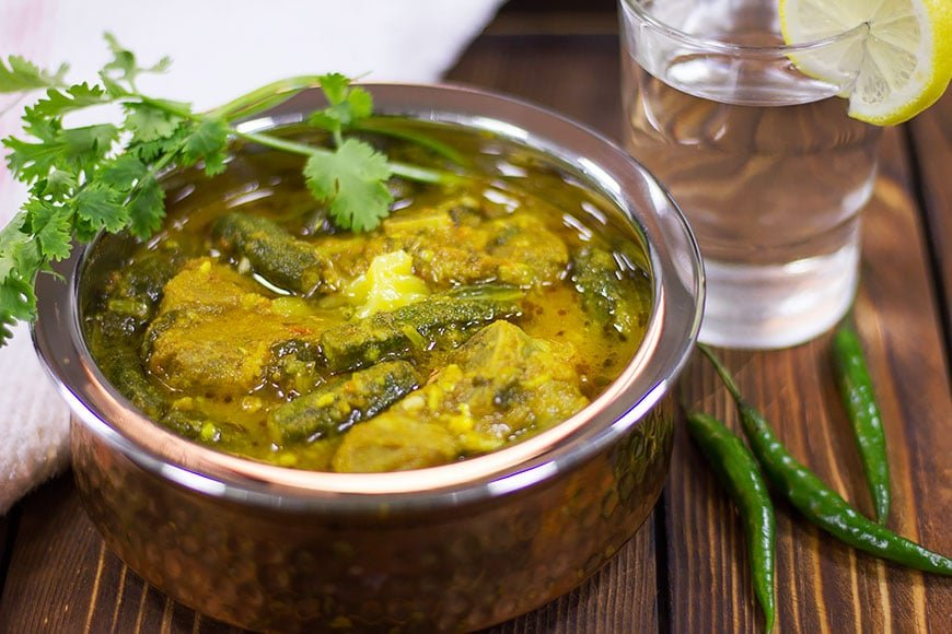 Tender lamb cooked with bhindi masala.