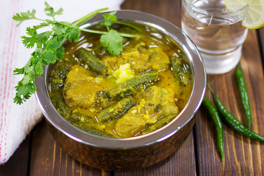 Bhindi gosht freshly made and served.
