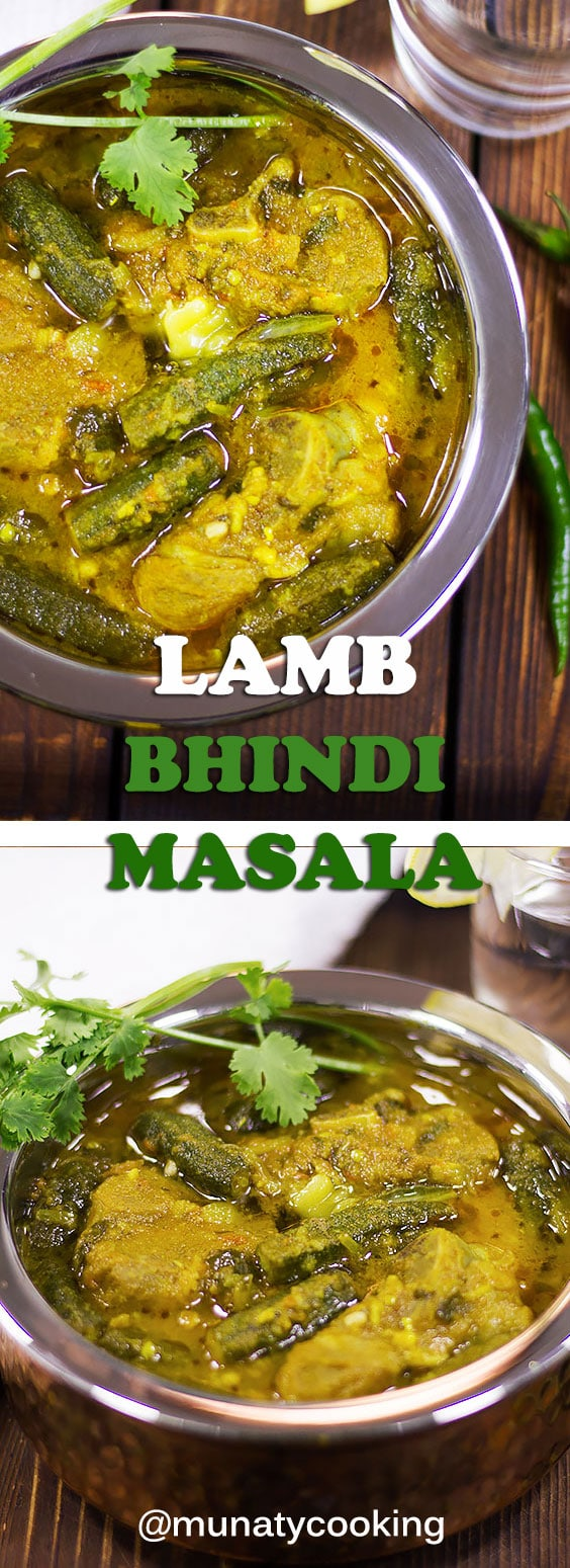 Lamb bhindi masala or bhindi gosht is a Pakistani dish. Tender lamb smothered in a delicious gravy. Serve hot with bread or plain rice. #indianfood #indianrecipes #curry
