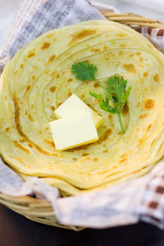 Paratha served in a basket.