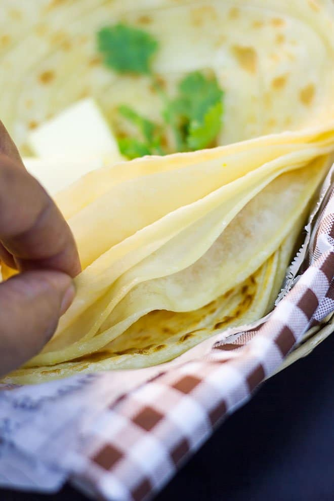 Close up image of layers in a paratha.