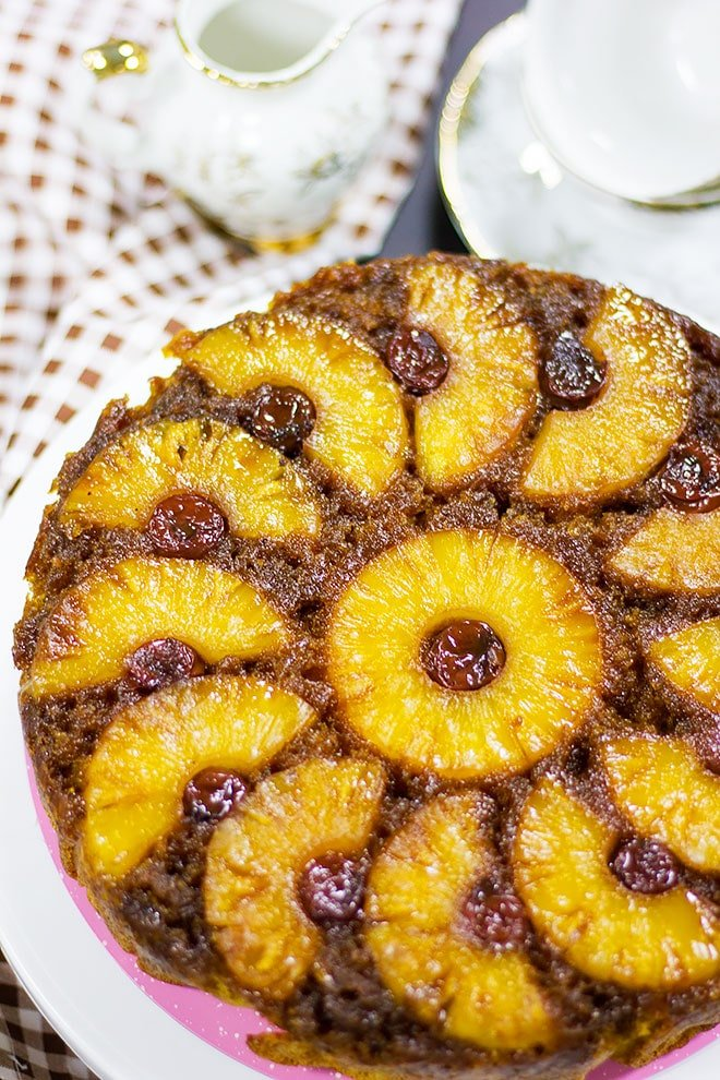 Pineapple cake freshly baked.