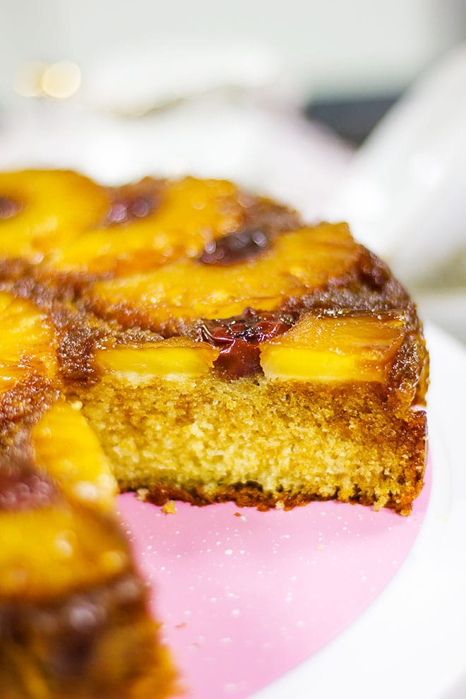 Side image of pineapple side cake showing tender crumbs.