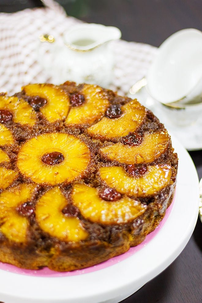 Close up image of pineapple upside down cake.