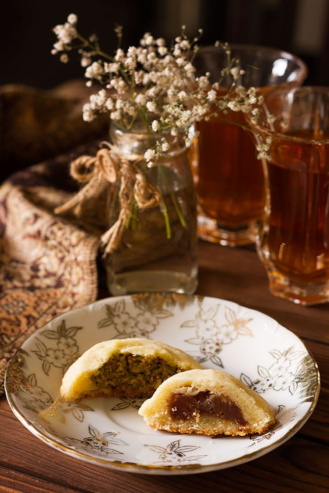 Date and Pistachio filled Maamoul cookies.