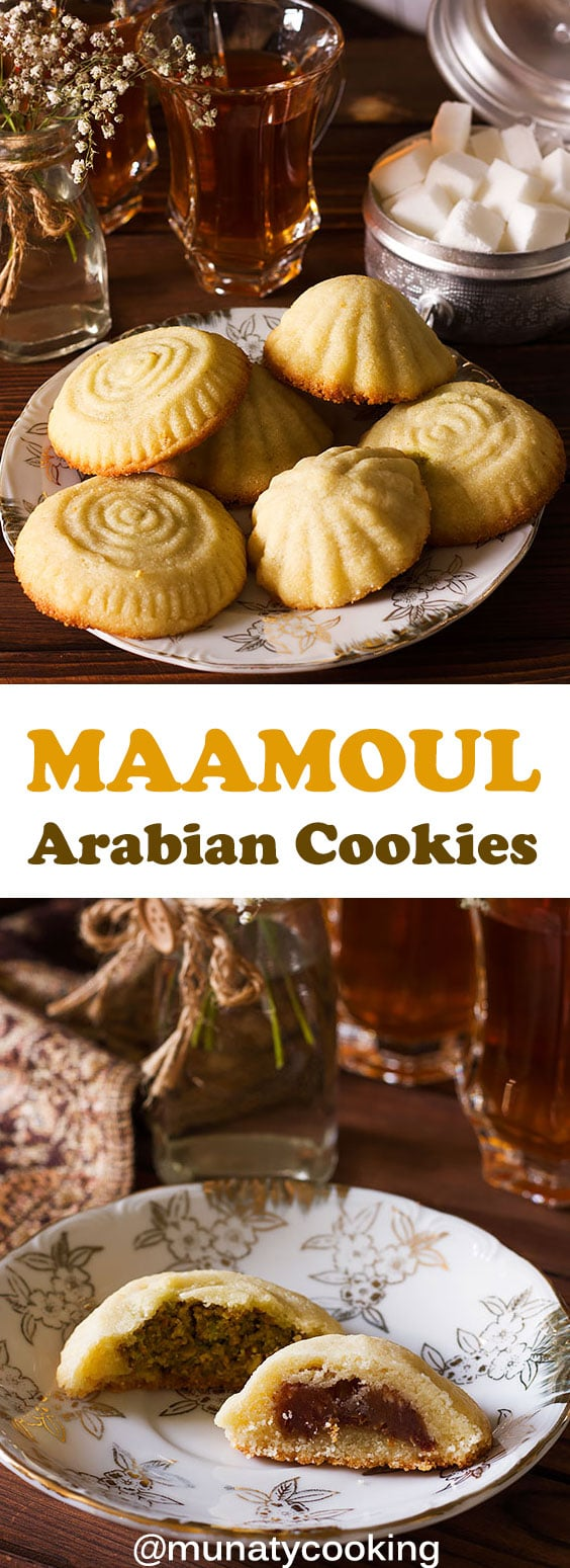 Maamoul is an Arabian cookie made of semolina and filled with pistachio or dates. Melts in your mouth and is easy to make. Watch the video in the post to learn how to make and shape the cookies. #maamoul #arabiandessert #dessertrecipe #recipe #middleeasterndessert