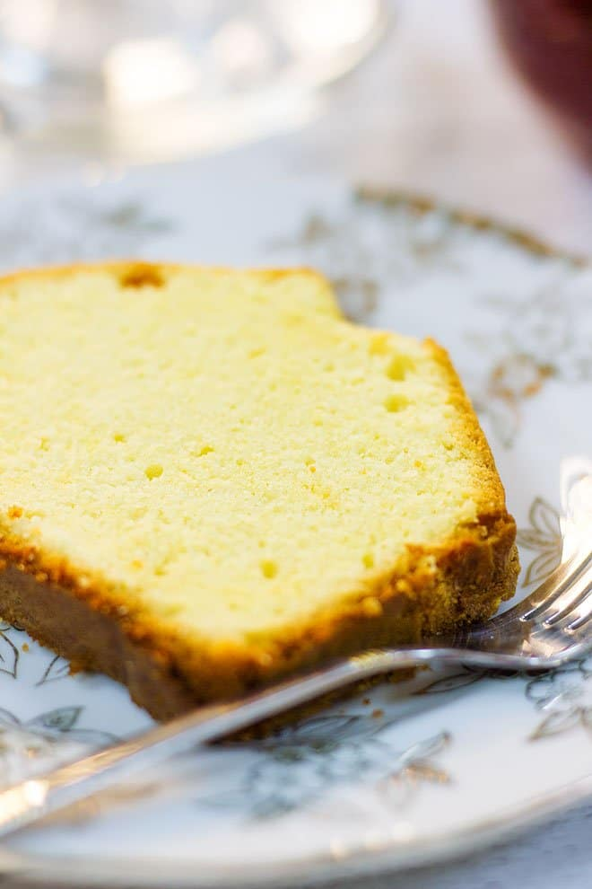 Close up image of a traditional pound cake.