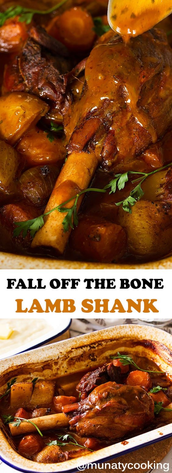 Fall off the bone Lamb Shanks smothered in a deliciously rich gravy! The lamb shank will melt in your mouth and will sure be your family's favorite dinner. Watch my video and make this simple yet mind blowing recipe. #lambshank #lambshankrecipe #dinner #lambrecipes